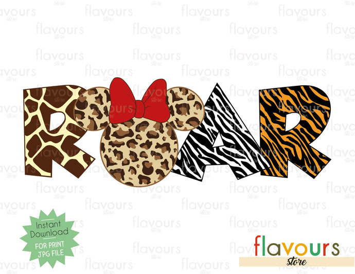 Roar Minnie Ears - Printables Files - Instant Download - FlavoursStore
