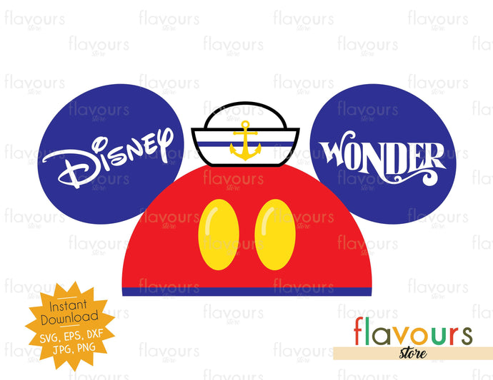 Mickey Sailor Hat Ears - Instant Download - SVG Cut Files