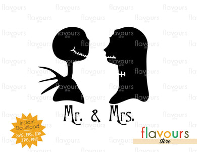 Sally and Jack - Mr and Mrs - Instant Download - SVG Cut File