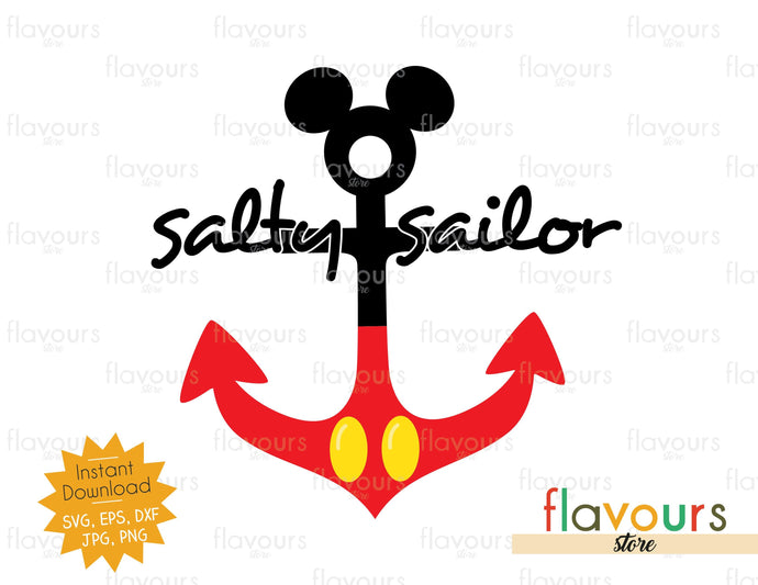 Salty Sailor - Mickey Anchor - SVG Cut File