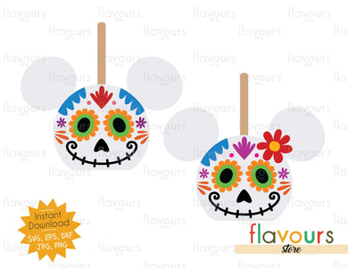 Mickey And Minnie Sugar Skull Caramel Apples - SVG Cut File
