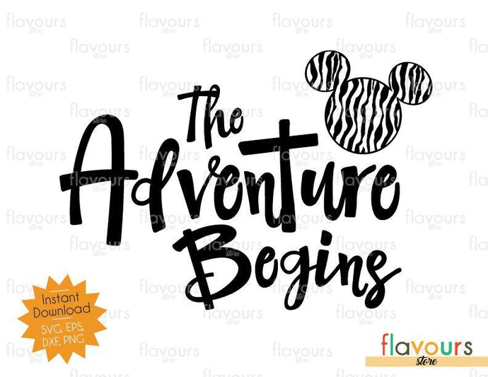 The Adventure Begins Mickey Zebra Pattern - SVG Cut Files