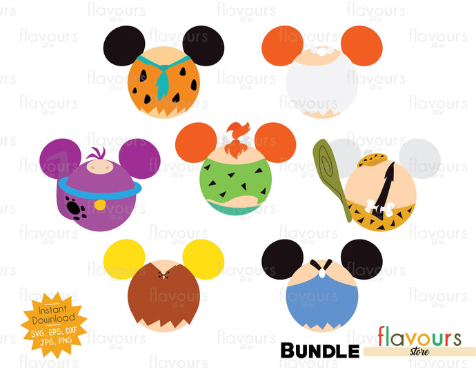 The Flintstone Ears Bundle - Instant Download - SVG Cut File
