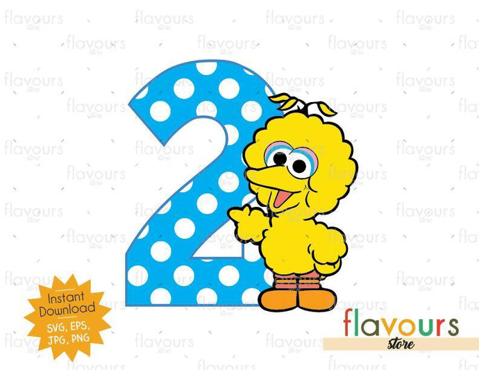 Two - Baby Big Bird - Sesame Street - Cuttable Design Files - FlavoursStore