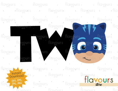 Two - Cat Boy - Pj Mask - Instant Download - SVG FILES