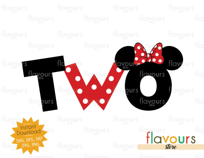 Two - Minnie Ears - SVG Cut Files - FlavoursStore