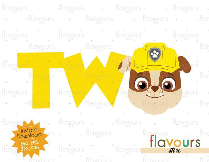Two - Rubble - Paw Patrol - Instant Download - SVG FILES