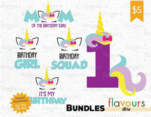Unicorn One Birthday Bundle - Instant Download - SVG Cut File