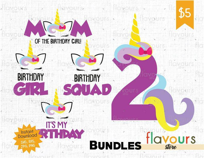 Unicorn Two Birthday Bundle - Instant Download - SVG Cut File