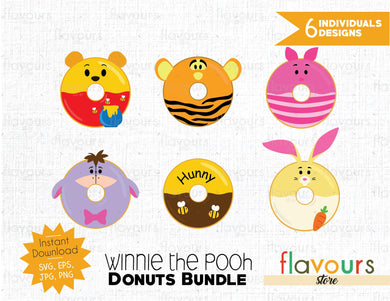Winnie the pooh Donuts Inspired Bundle - Instant Download - SVG Cut File
