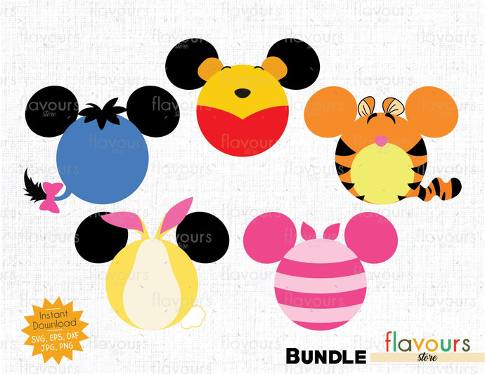 Winnie The Pooh Ears Bundle - Instant Download - SVG Cut File
