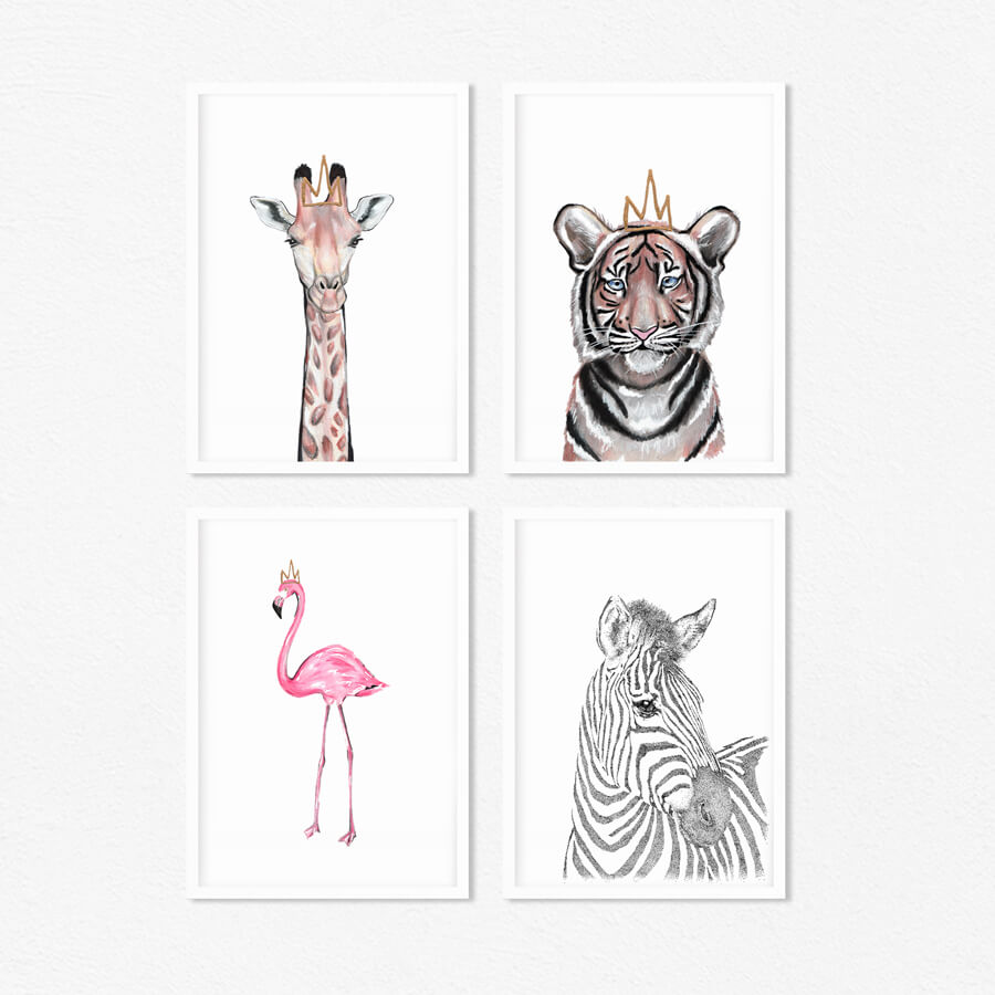 safari nursery print set
