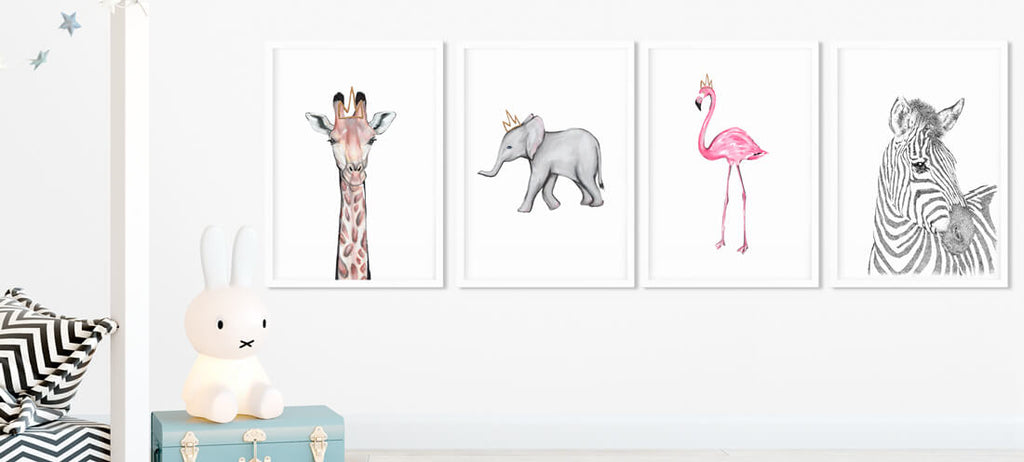 grey elephant nursery decor safari print set
