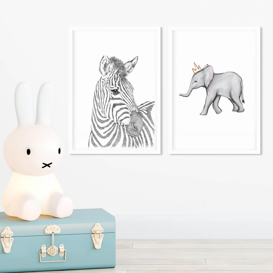 grey elephant and zebra nursery decor