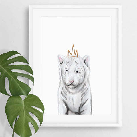 White Tiger Illustration Print