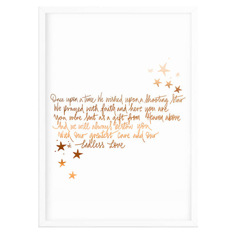 Copper 'Shooting Star' Poem Print