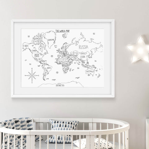 A3 Hand Illustrated World Map Art Print