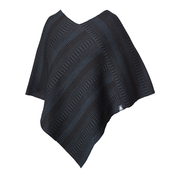 Wool poncho Blue / Black