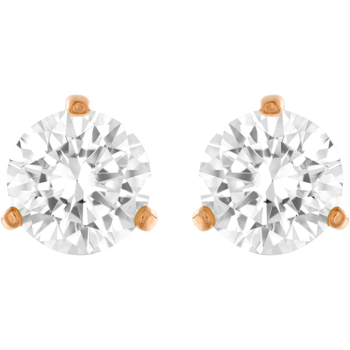 Swarovski Solitaire Pierced Earrings, White, Rose Gold Plated