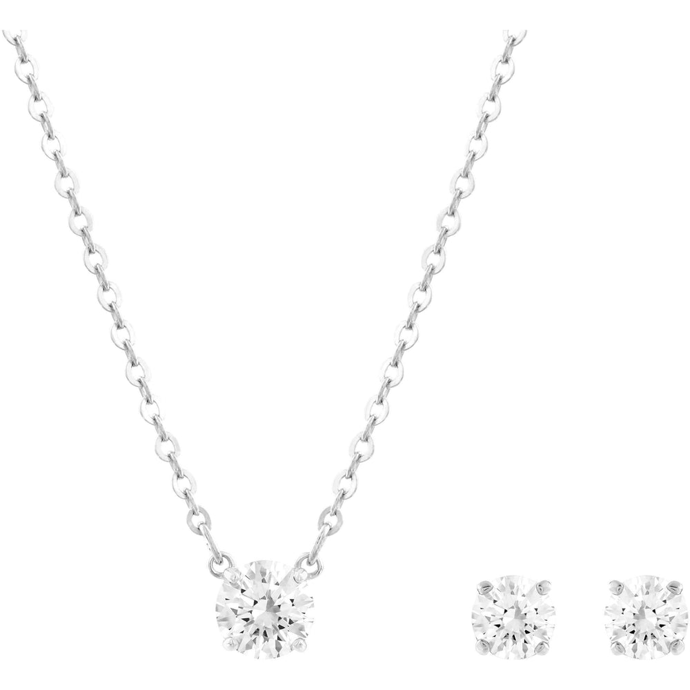 Swarovski Attract Square Set, White, Rhodium Plating