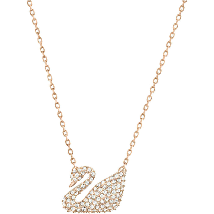 Swarovski Swan Necklace, White, Rose Gold Plated
