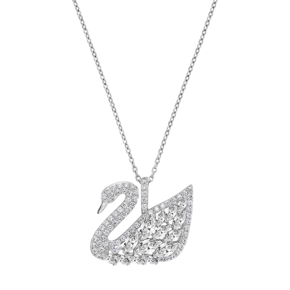 Swan Lake Pendant, White, Rhodium Plating