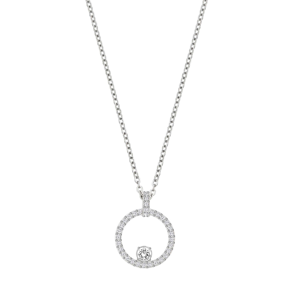 Creativity Circle Pendant, White, Rhodium Plated