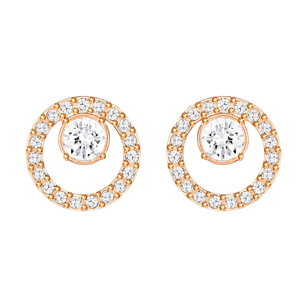 Swarovski Creativity Circle Pierced Earrings, Small, White, Rose Gold Plated