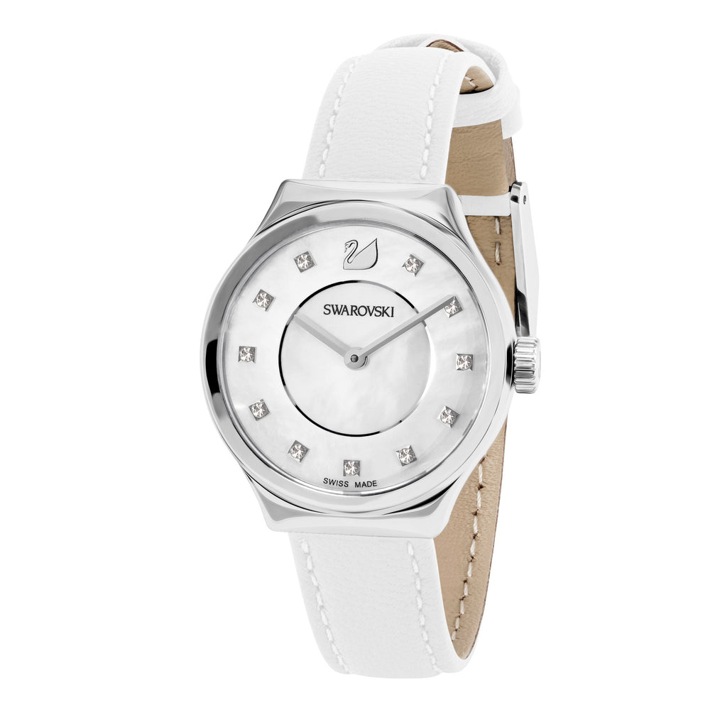Dreamy Watch, Leather strap, White, Stainless steel