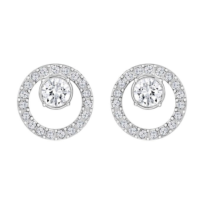 Swarovski Creativity Circle Pierced Earrings, Small, White, Rhodium Plated
