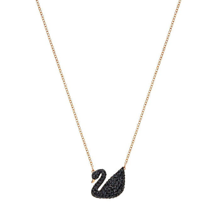 Swarovski Iconic Swan Pendant, Black, Rose Gold Plated
