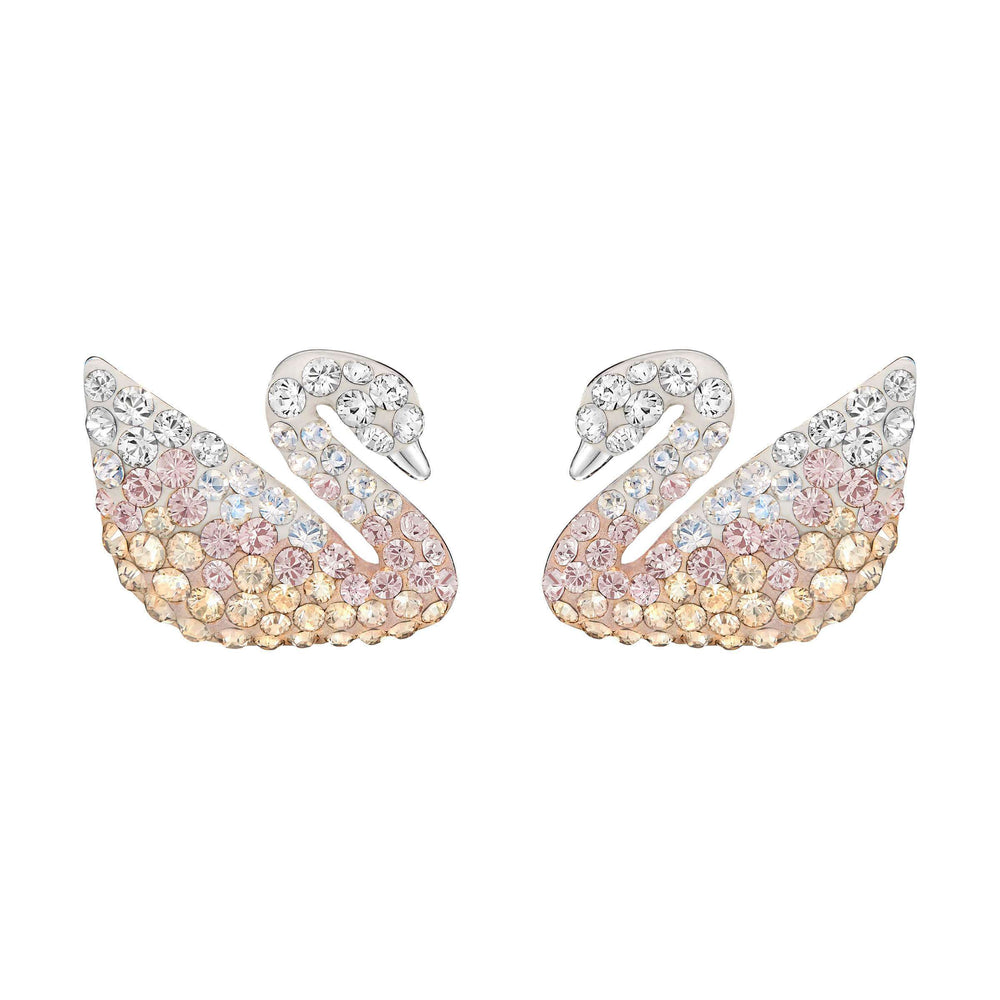 Swarovski Iconic Swan Pierced Earrings, Large, Multi-Coloured, Rhodium Plating