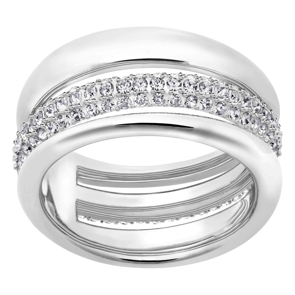 Swarovski Exact Ring, White, Rhodium Plated