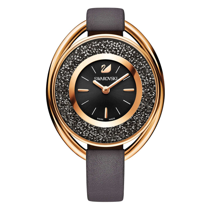 Swarovski Crystalline  Oval Watch, Gray, Rose Gold Tone