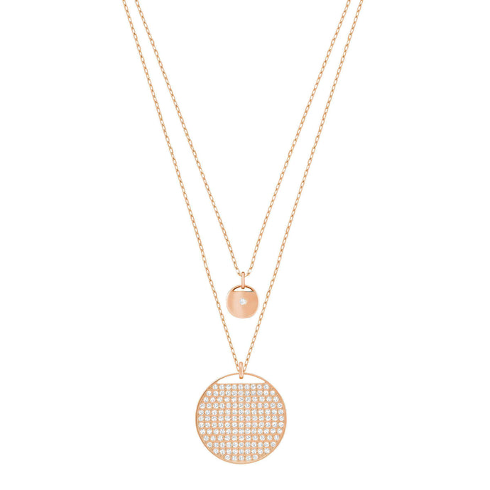 Swarovski Ginger Layered Pendant, White, Rose Gold Plated