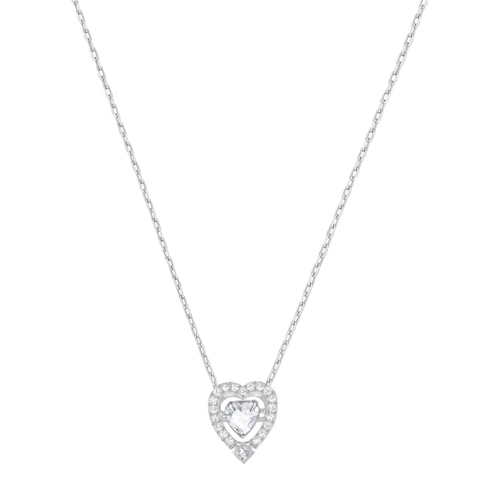 Swarovski Sparkling Dance Heart Necklace, White, Rhodium Plated