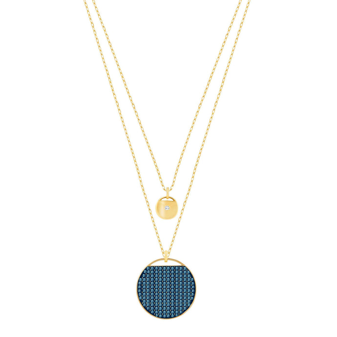 Swarovski Ginger Layered Pendant, Blue, Gold Plated