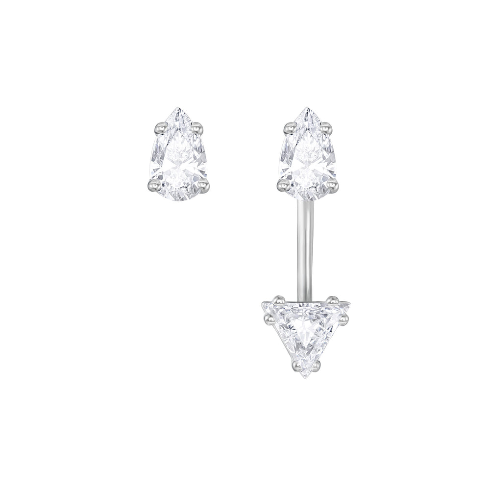 Attract Triangle Pierced Earrings with Jacket, White, Rhodium plated
