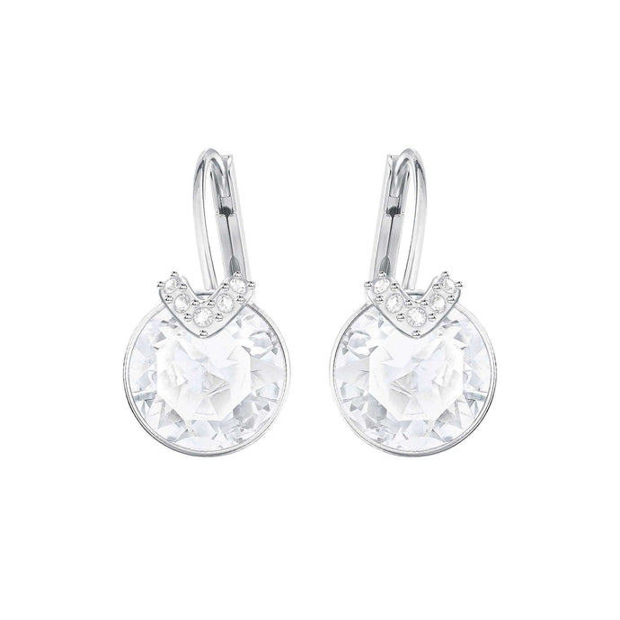 Swarovski Bella V Pierced Earrings, White, Rhodium Plated