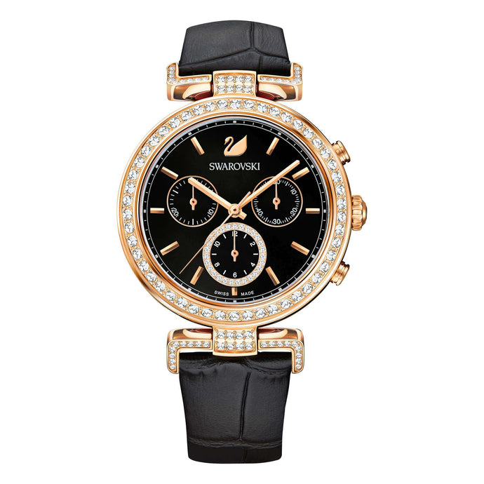 Era Journey Watch, Black, Rose Gold Tone