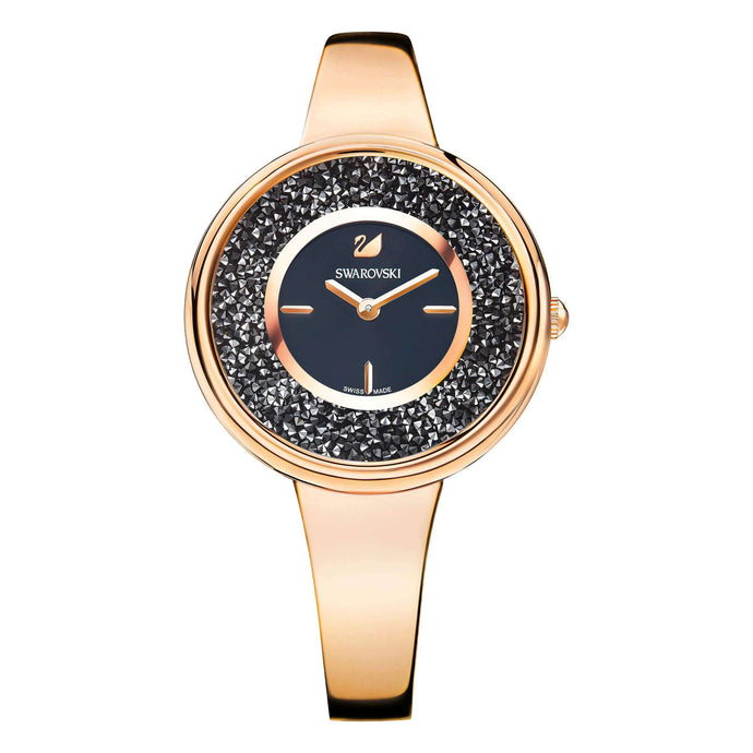 Swarovski Crystalline Bracelet Watch, Black, Rose Gold Tone