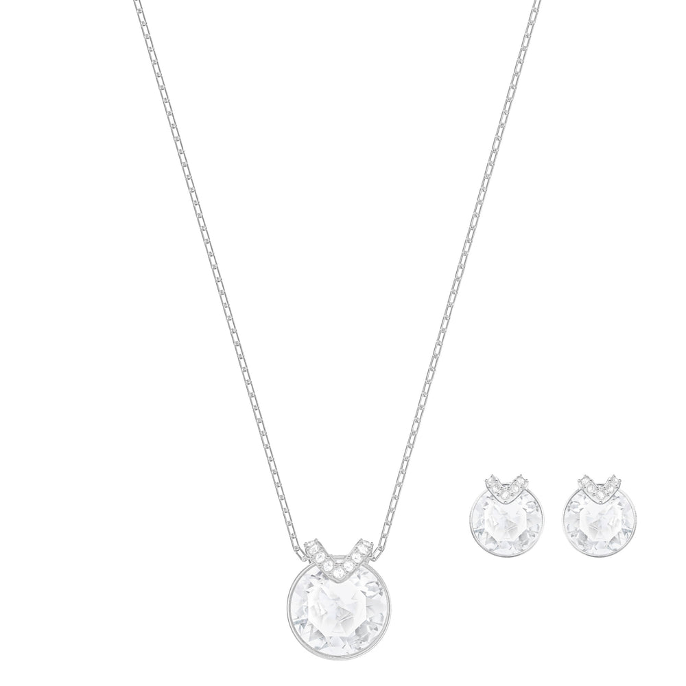 Bella V Set, White, Rhodium plated