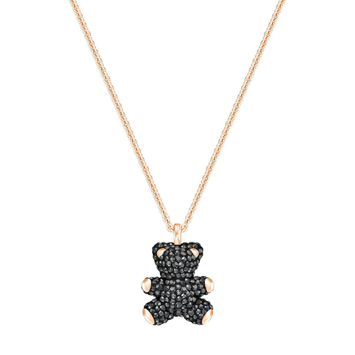 Swarovski Teddy 3D Pendant, Black, Rose Gold Plated
