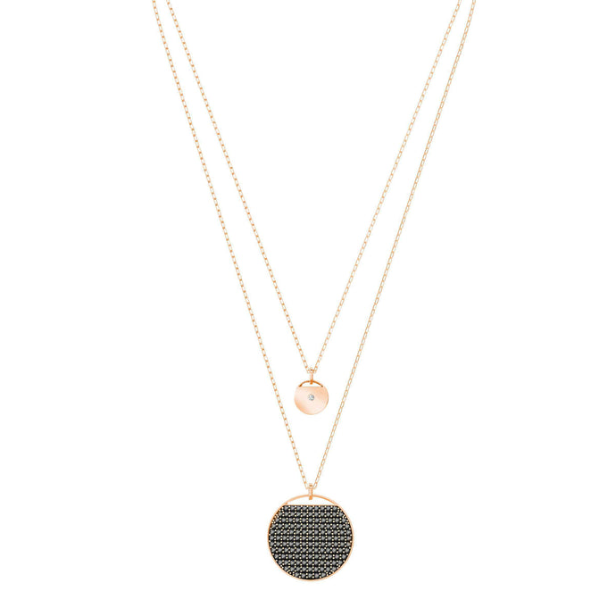 Swarovski Ginger Layered Pendant, Gray, Rose Gold Plated