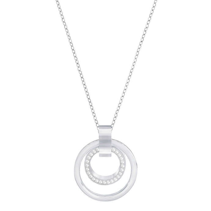 Swarovski Hollow Pendant, Medium, White, Rhodium Plated