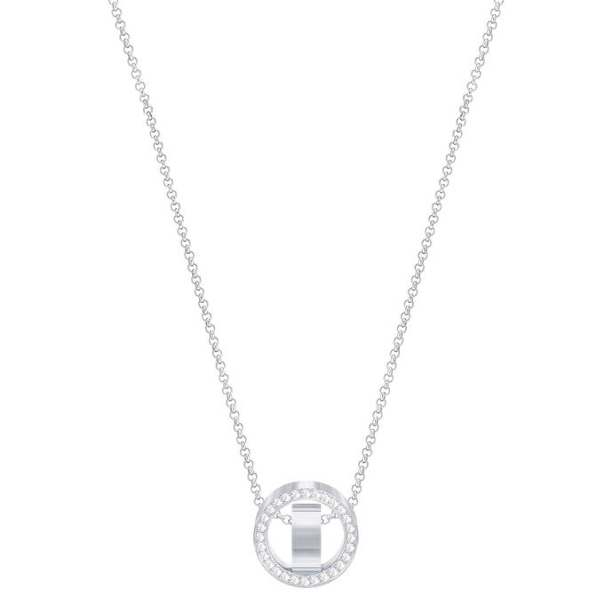 Swarovski Hollow Pendant, Small, White, Rhodium Plated