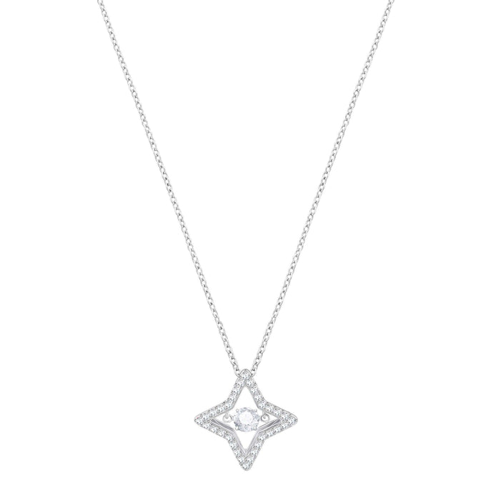 Sparkling Dance Star Pendant, Small, White, Rhodium Plating