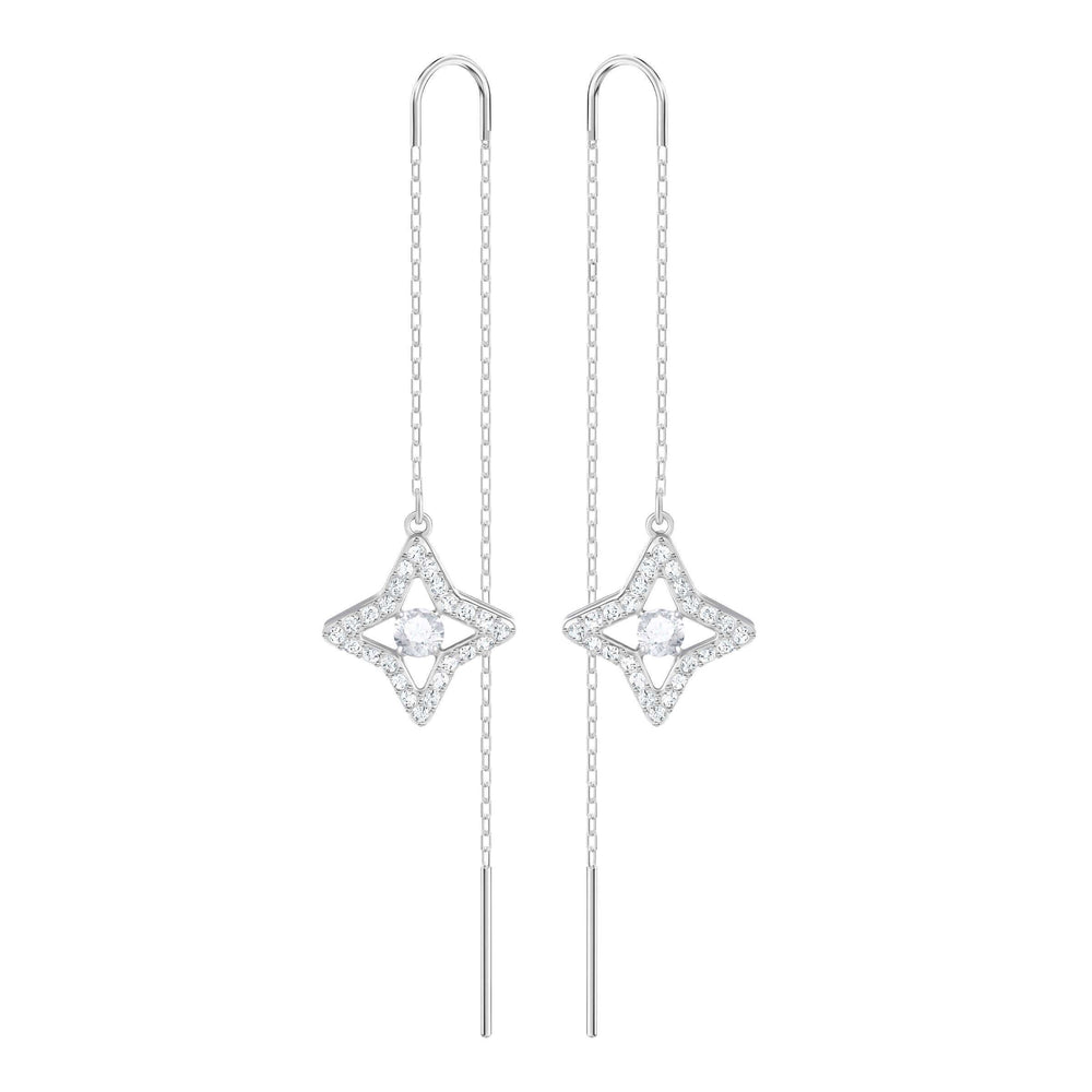 Swarovski Sparkling Dance Star Pierced Earrings, White, Rhodium Plating