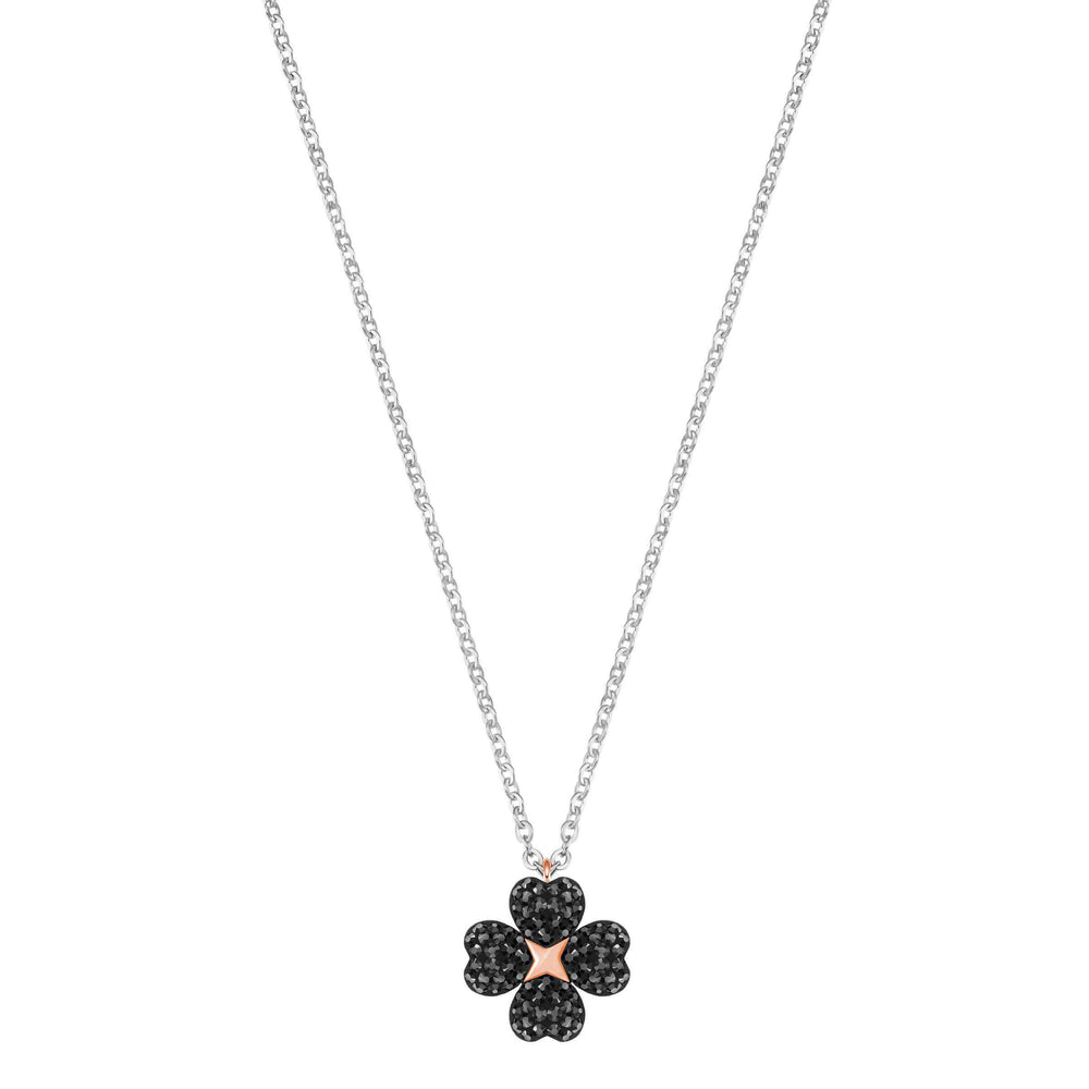 Swarovski Latisha Flower Pendant, Black, Rhodium Plating