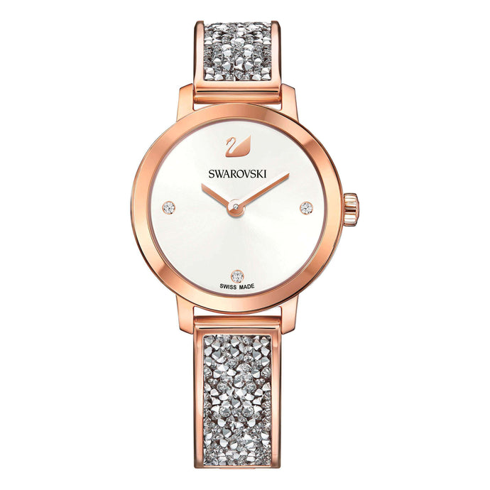 Cosmic Rock Watch, Metal Bracelet, White, Rose Gold Tone